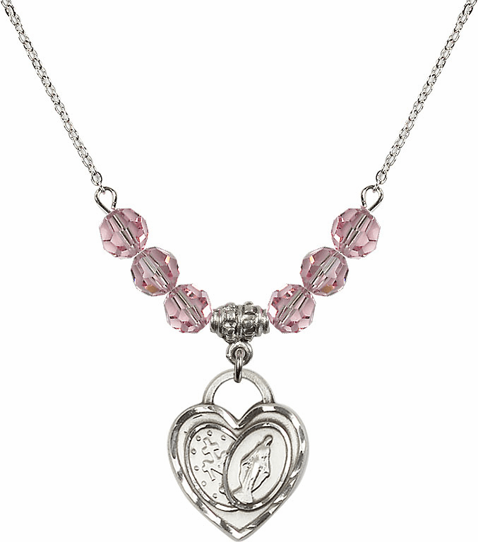 Miraculous Heart Lt Rose 6mm Swarovski Crystal Necklace by Bliss Mfg