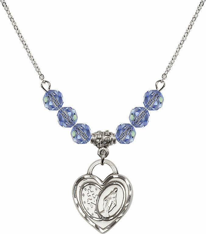 Miraculous Heart Lt Sapphire 6mm Swarovski Crystal Necklace by Bliss Mfg