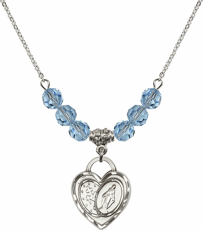 Miraculous Heart March Aqua 6mm Swarovski Crystal March Aqua Necklace by Bliss Mfg