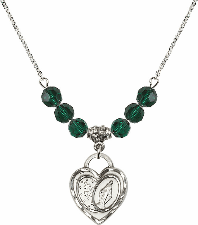 Miraculous Heart May Emerald 6mm Swarovski Crystal Necklace by Bliss Mfg