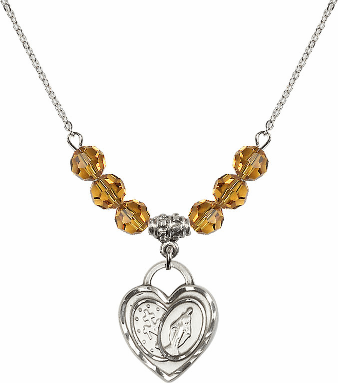 Miraculous Heart November Topaz 6mm Swarovski Crystal Necklace by Bliss Mfg