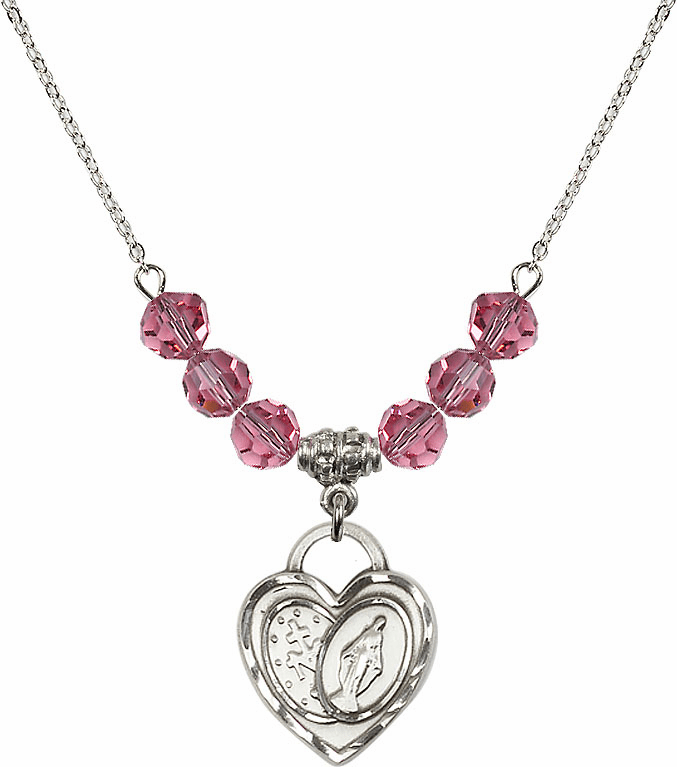 Miraculous Heart October Rose 6mm Swarovski Crystal Necklace by Bliss Mfg
