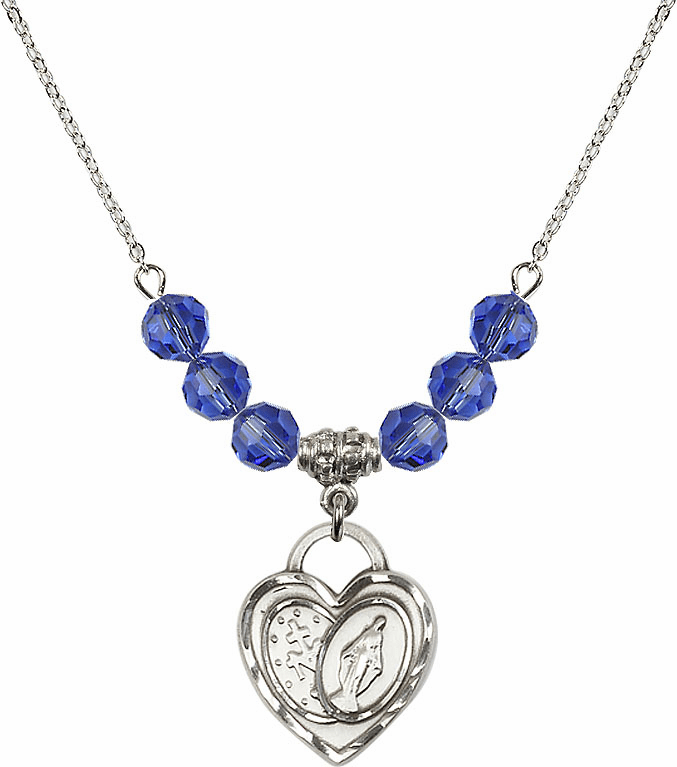 Miraculous Heart September Sapphire 6mm Swarovski Crystal Necklace by Bliss Mfg