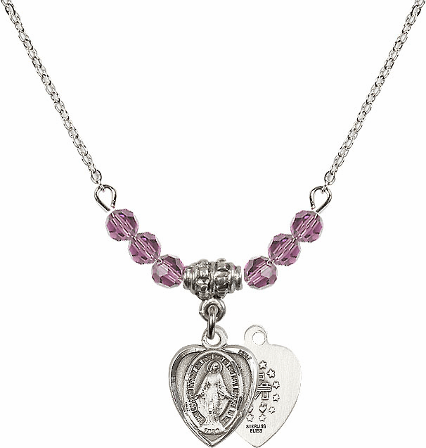 Miraculous Heart Shaped Charm with 6 Crystal Bead Necklace by Bliss Mfg
