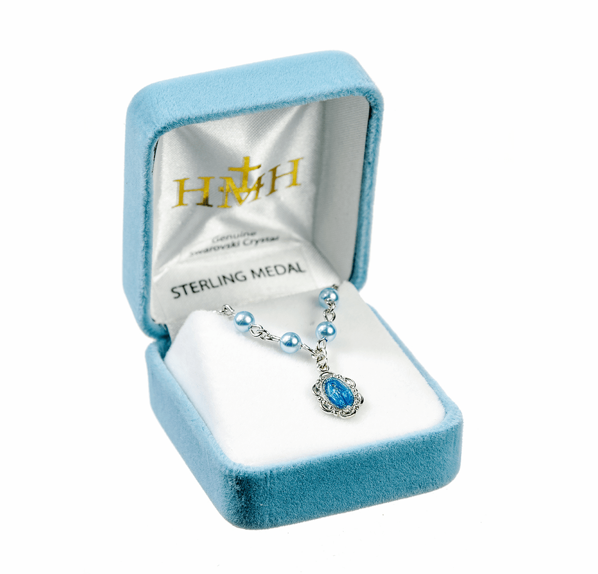 Miraculous Medal Blue Swarovski Pearl Necklace