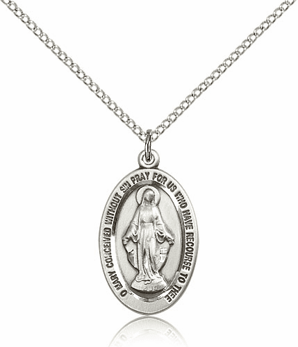 Miraculous Medal Catholic Medal Necklace with Chain by Bliss
