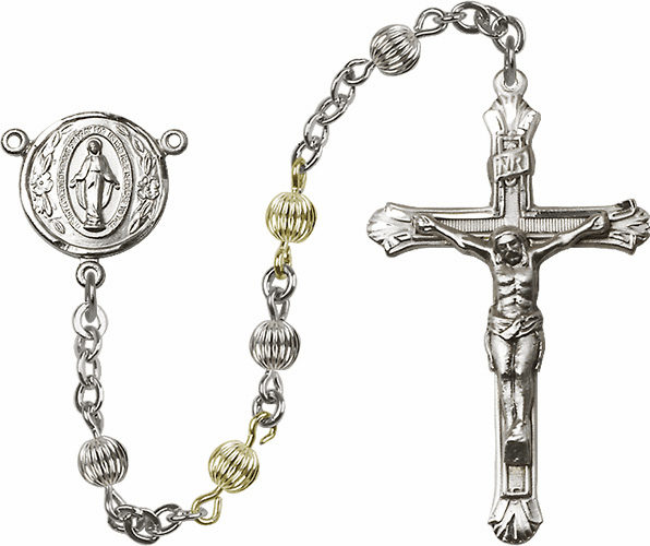 Miraculous Medal Corrugated Sterling Silver and Gold-filled 5mm Beads Rosary