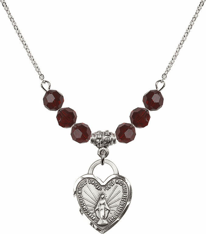 Miraculous Medal Heart 6mm January Garnet Swarovski Crystal Necklace by Bliss Mfg