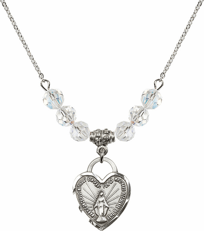 Miraculous Medal Heart April 6mm Swarovski Crystal Necklace by Bliss Mfg