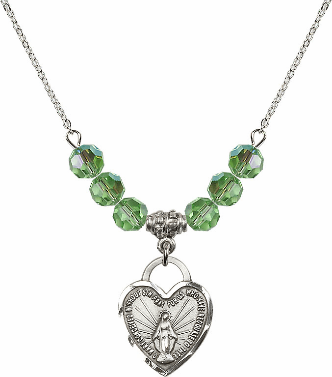 Miraculous Medal Heart August Peridot 6mm Swarovski Crystal Necklace by Bliss Mfg