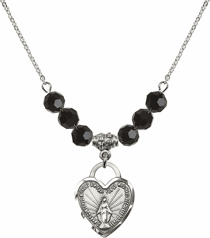 Miraculous Medal Heart Black Jet 6mm Swarovski Crystal Necklace by Bliss Mfg