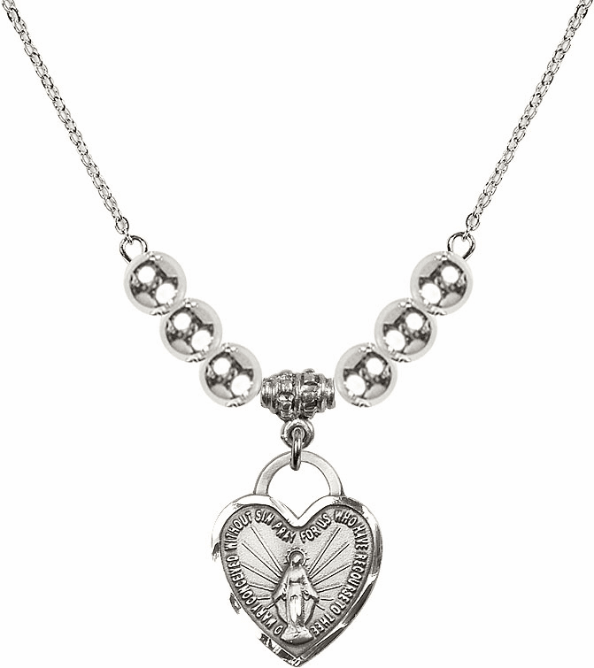 Miraculous Medal Heart Charm w/6mm Silver Beaded Necklace by Bliss Mfg