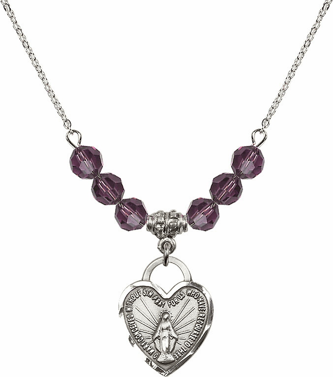Miraculous Medal Heart February Amethyst 6mm Swarovski Crystal Necklace by Bliss Mfg