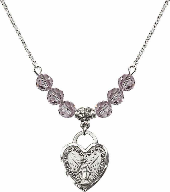 Miraculous Medal Heart June Lt Amethyst 6mm Swarovski Crystal Necklace by Bliss Mfg