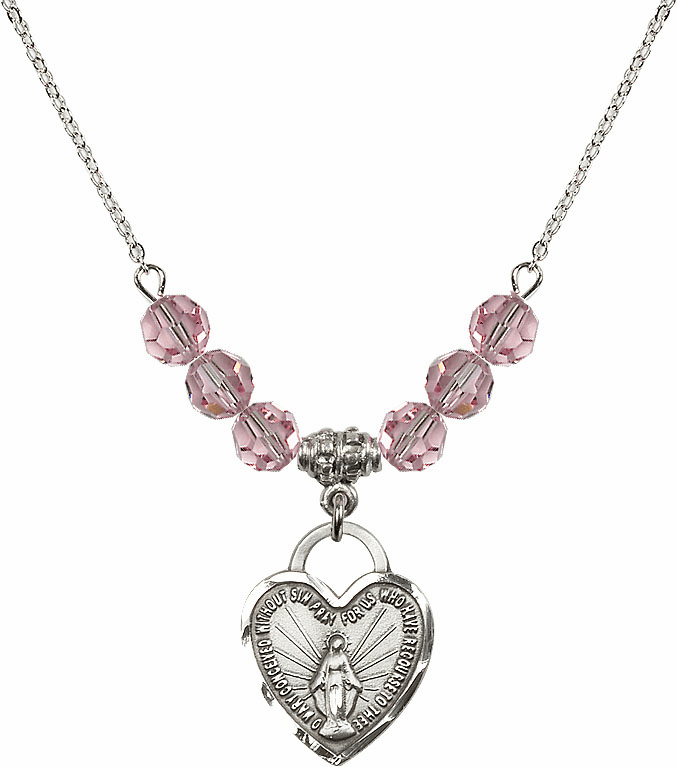 Miraculous Medal Heart Lt Rose 6mm Swarovski Crystal Necklace by Bliss Mfg