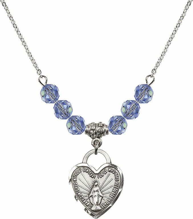 Miraculous Medal Heart Lt Sapphire 6mm Swarovski Crystal Necklace by Bliss Mfg