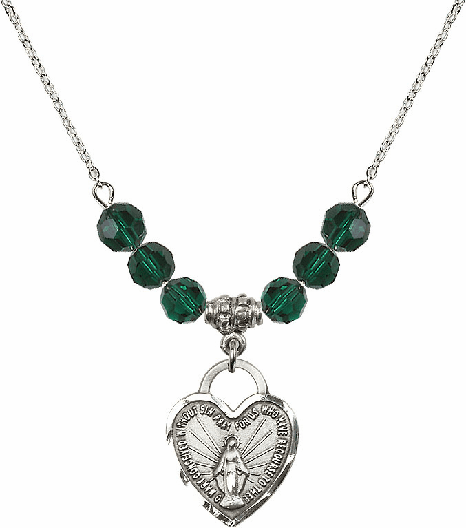 Miraculous Medal Heart May Emerald 6mm Swarovski Crystal Necklace by Bliss Mfg