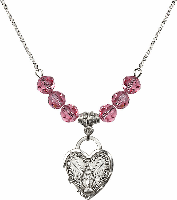 Miraculous Medal Heart October Rose 6mm Swarovski Crystal Necklace by Bliss Mfg