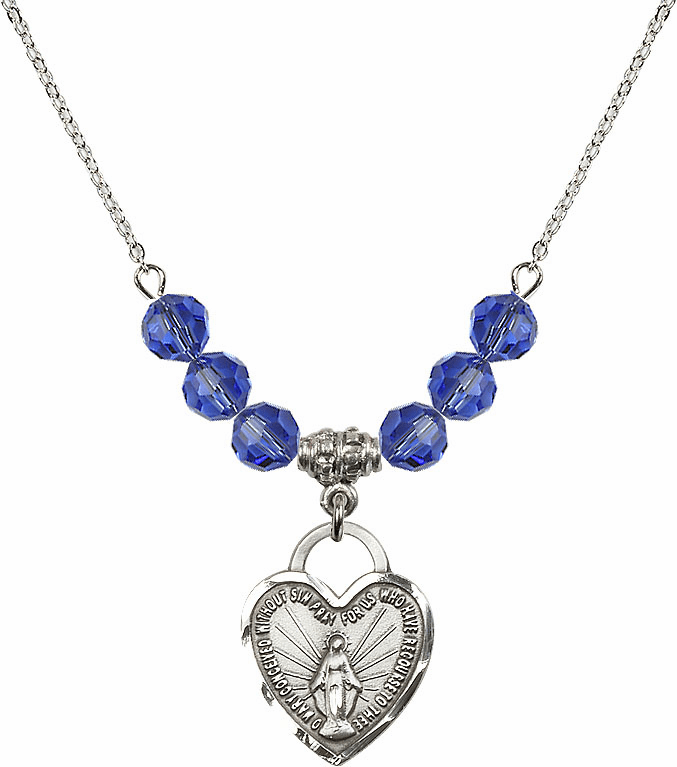 Miraculous Medal Heart September Sapphire 6mm Swarovski Crystal Necklace by Bliss Mfg