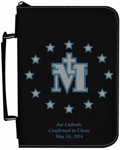 Miraculous Medal Personalized Black Catholic Bible Cover Case