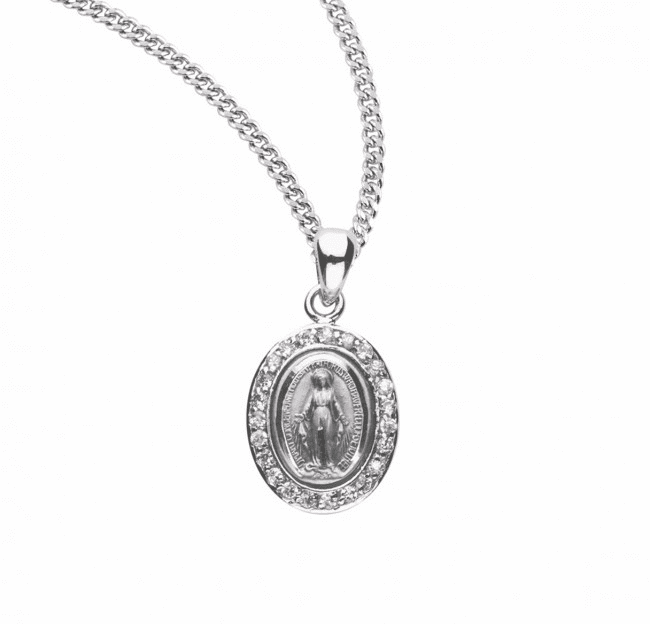 Miraculous Medal Pink Zirconia Sterling Silver Pendant Necklace