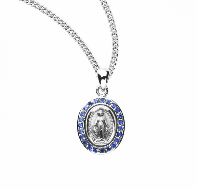 Miraculous Medal Sapphire Zirconia Sterling Silver Pendant Necklace