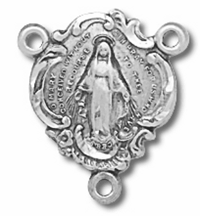 Miraculous Medal Sterling Silver Centerpiece Rosary Part by HMH Religious