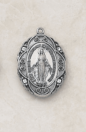 Miraculous Medal w/Black Stones Sterling Silver Necklace by Creed Jewelry
