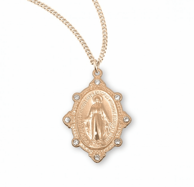 Miraculous Medal w/Crystal Stones Necklace by HMH Religious