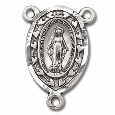 Miraculous Medal with Hearts Sterling Silver Centerpiece Rosary Part by HMH Religious