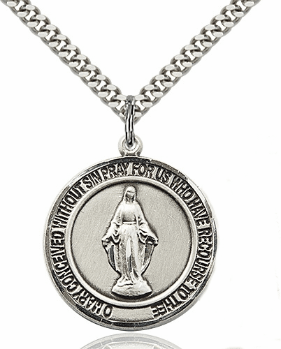 Miraculous Pewter Round Patron Saint Medal Necklace by Bliss