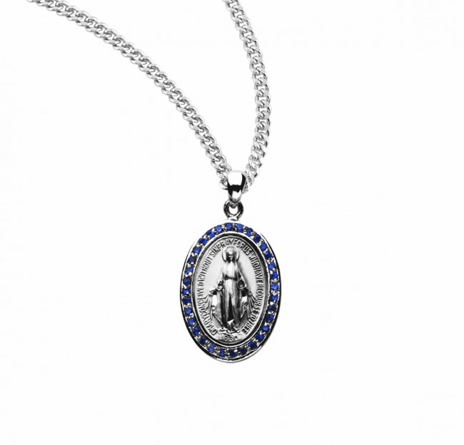 Miraculous Sapphire Cubic Zirconia Sterling Silver Pendant by HMH Religious