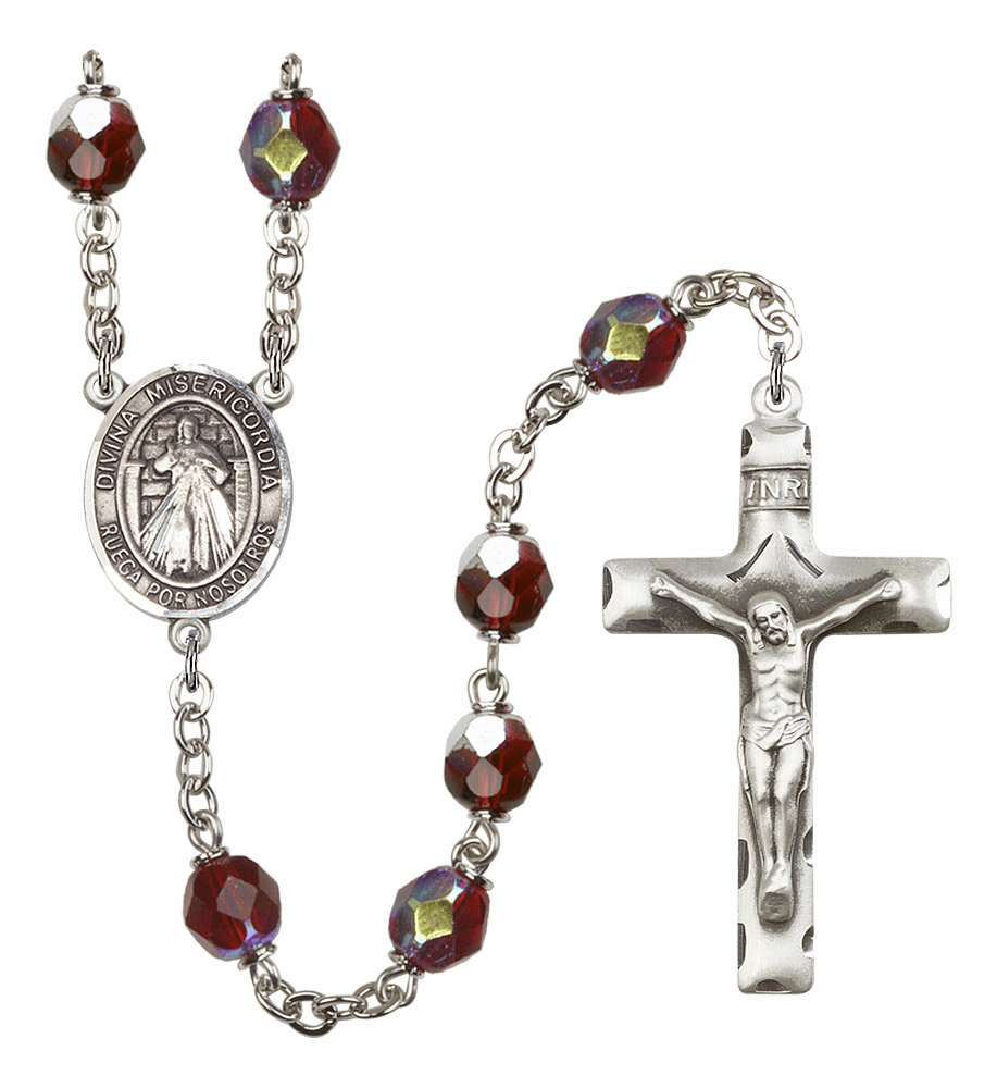 Misericordia/Divine Mercy Spanish 7mm Lock Link Aurora Borealis Garnet Rosary by Bliss Mfg