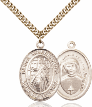 Bliss Gold-filled Spanish Divina Misericordia & St Maria Faustina Necklace
