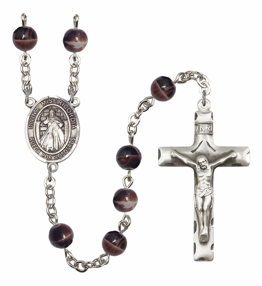 Misericordia/Divine Mercy Spanish Silver Plate 7mm Brown Gemstone Prayer Rosary by Bliss