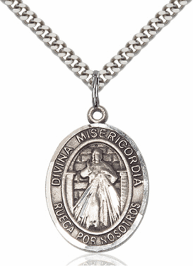 Bliss Spanish Divina Misericordia & St Maria Faustina Sterling Silver Necklace