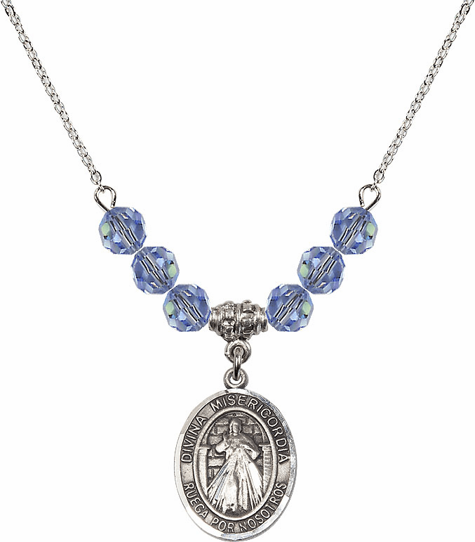 Misericordia/Jesus Divine Mercy Sterling Sapphire Swarovski Crystal Beaded Necklace by Bliss Mfg
