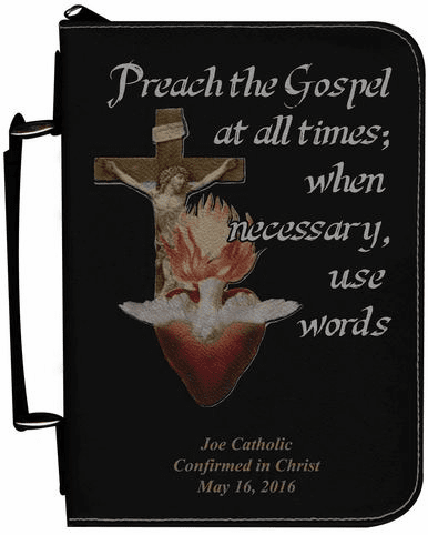 Missionary Personalized Black Catholic Bible Cover Case
