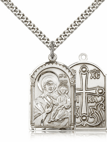 Mother of God Sterling Silver Pendant Necklace by Bliss