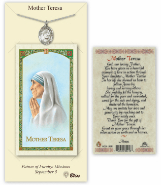 Mother Theresa Pendant and Holy Prayer Card Gift Set by Bliss
