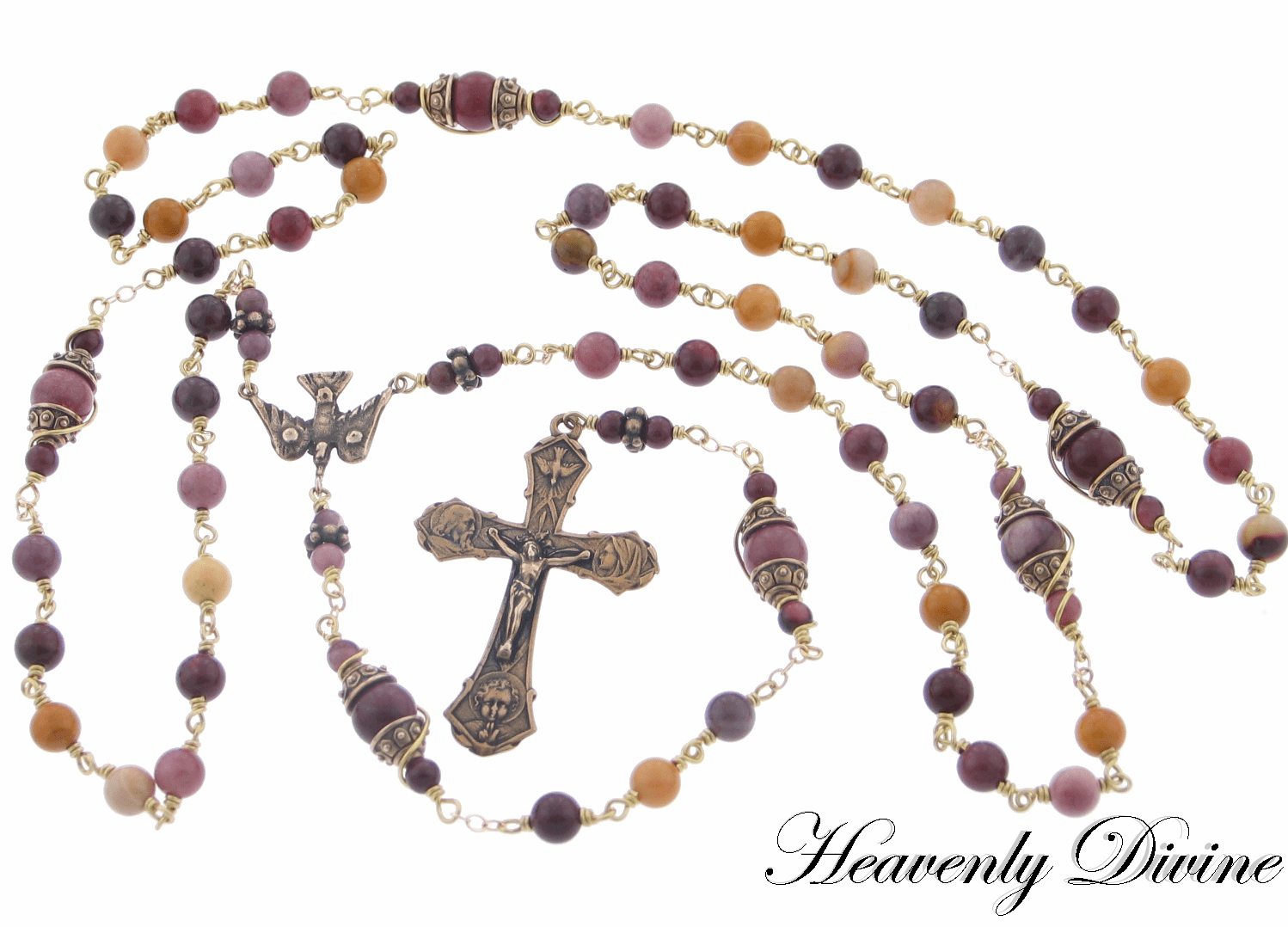 Moukaita Jasper Holy Family Wire Wrapped Rosary by Heavenly Divine