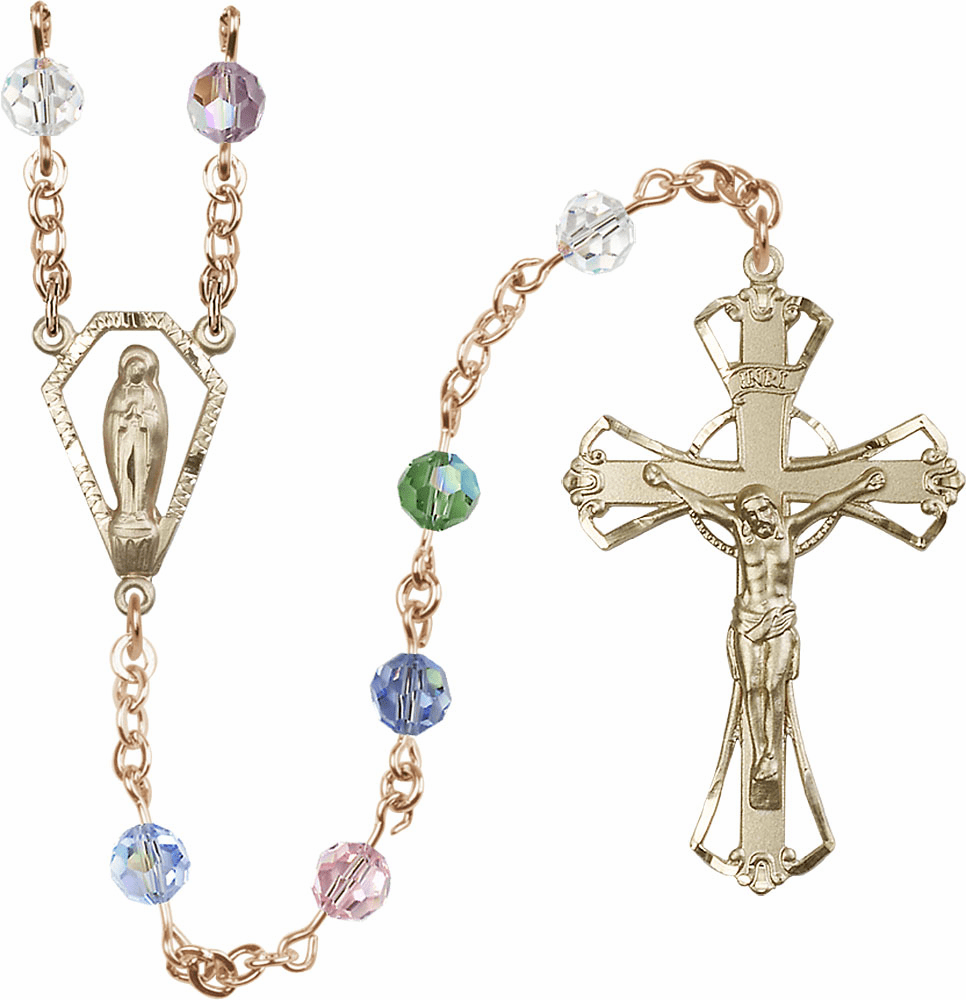 Multi-Color 6mm Swarovski 14kt Gold Praying Madonna Catholic Rosary by Bliss