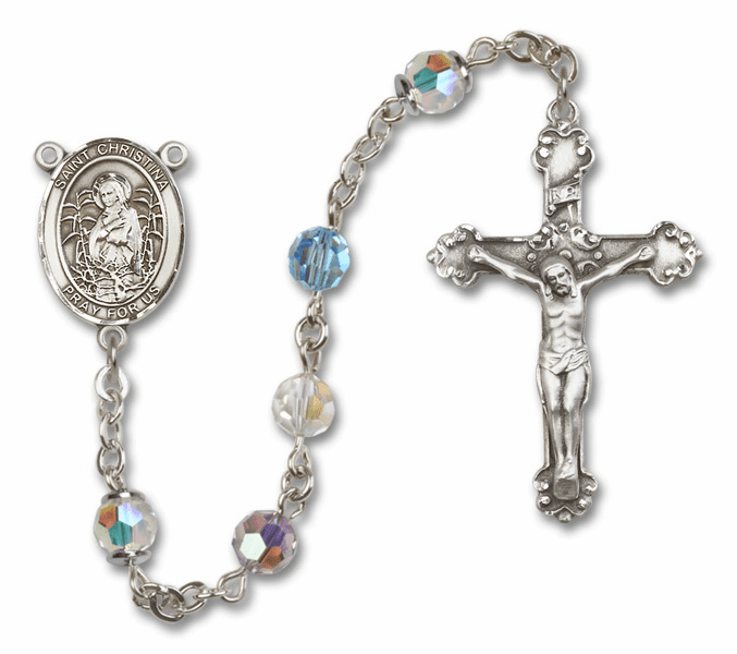 Multi-Color Swarovski Patron Saint Sterling Silver Rosary by Bliss