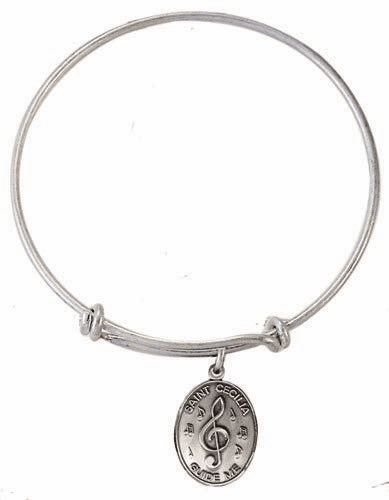 Music Silver Plated Charm Bangle Bracelet by Jeweled Cross