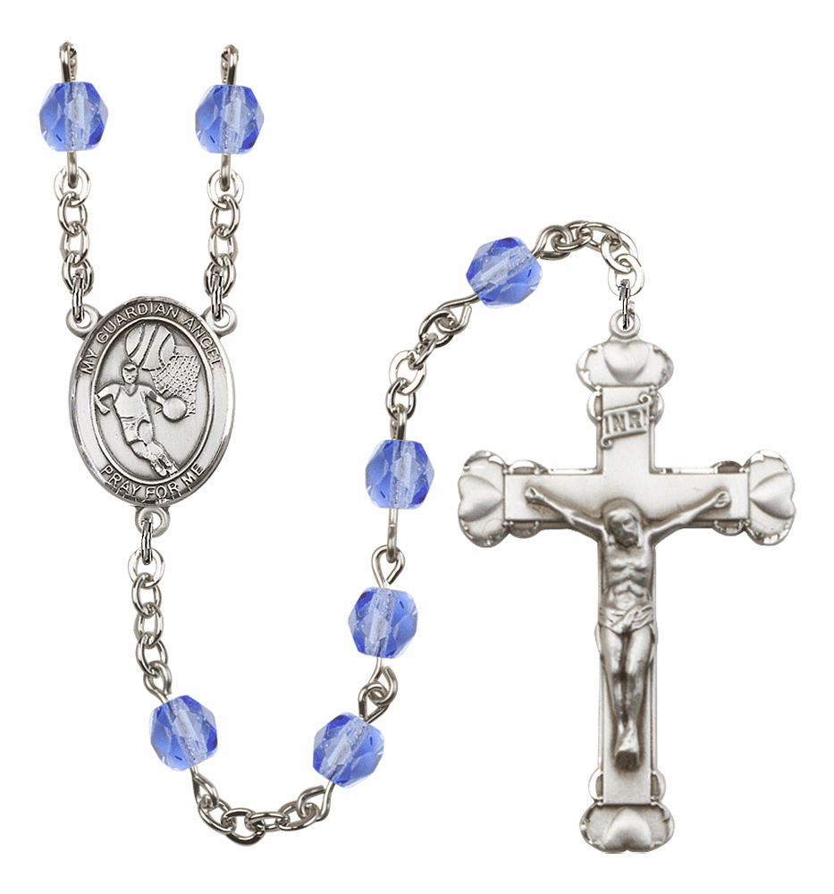My Guardian Angel Basketball Heart Crucifix Birthstone Fire Polished Crystal Prayer Rosary