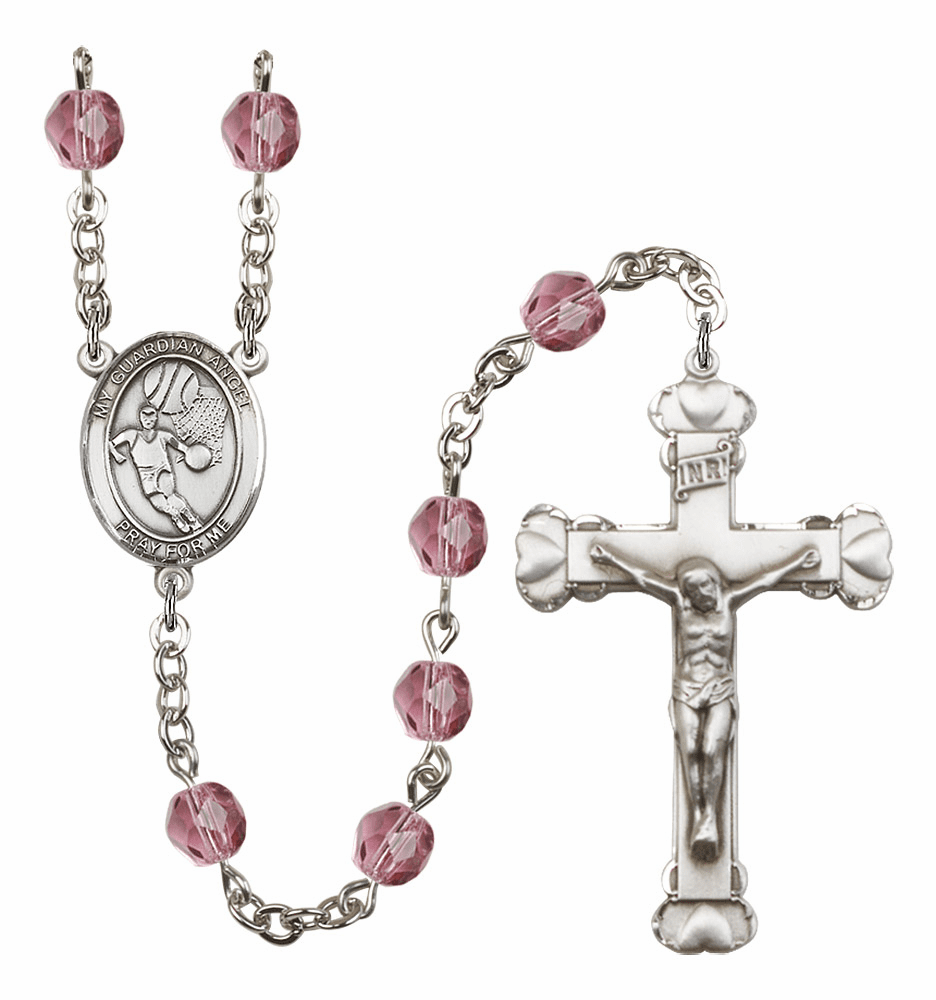 My Guardian Angel Basketball Patron Saint Birthstone Fire Polished Crystal Prayer Rosary