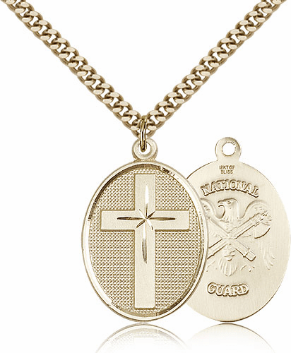 National Guard Christian Cross Gold-Filled Necklace by Bliss Mfg