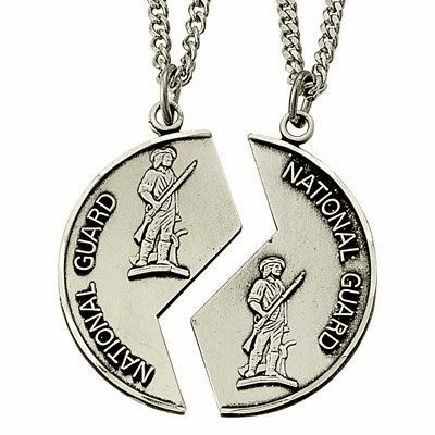 National Guard Mizpah Sterling Silver Medal Necklaces