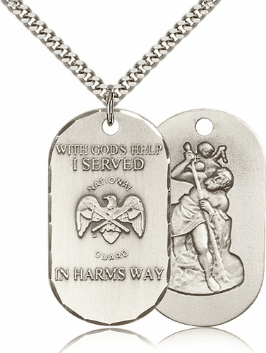 National Guard Saint Christopher Dog Tag Medal Necklace