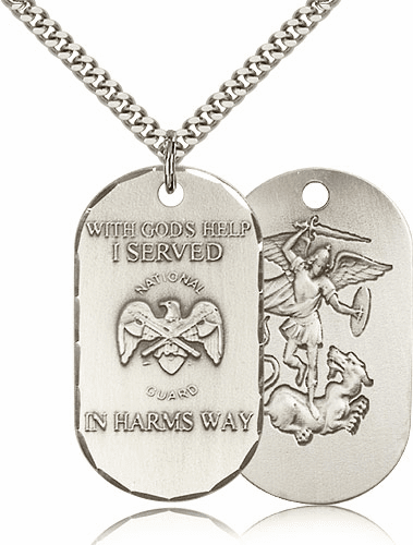 National Guard St Michael Dog Tag Medal Necklace